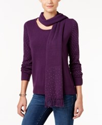 Karen Scott Embellished Scoop Neck Sweater Only At Macy's Purple Dynasty