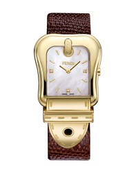 Fendi B. Diamond Buckle Watch With Leather Strap Brown