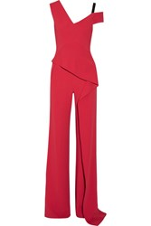 Roland Mouret Tilson Off The Shoulder Cutout Stretch Crepe Jumpsuit Papaya