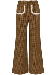 Shrimps Houndstooth Print Trousers Brown