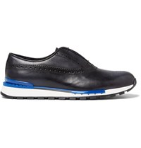 Berluti Fast Track Polished Leather Brogue Sneakers Midnight Blue
