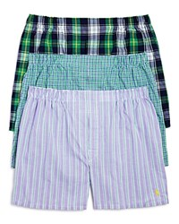 Polo Ralph Lauren Plaid Stripe And Check Cotton Boxer Briefs Pack Of 3 Green