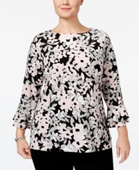 Charter Club Plus Size Printed Ruffle Sleeve Top Only At Macy's Cloud Combo