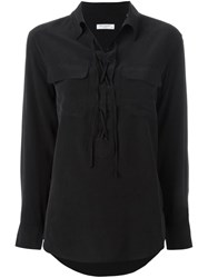 Equipment Lace Up Blouse Black