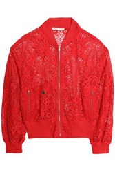 Maje Guipure Lace Bomber Jacket Red