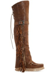 El Vaquero 70Mm Coleen Suede Over The Knee Boots Tan
