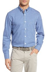 Nordstrom Men's Big And Tall Men's Shop Smartcare Tm Gingham Sport Shirt Blue Marine Blue Gingham