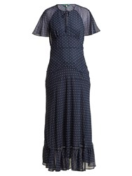 Alexachung Polka Dot Print Crepe Dress Navy White