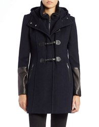 Bcbgmaxazria Faux Leather Trim Toggle Coat Navy Blue