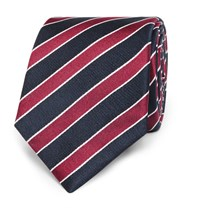 Hugo Boss 7.5Cm Striped Silk Jacquard Tie Red