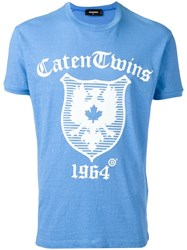 Dsquared2 Caten Twins Plaque T Shirt Blue