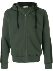 Tomas Maier Panelled Sleeve Zipped Hoodie Cotton Polyester Green