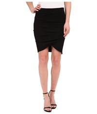 Michael Stars Cotton Lycra Cross Front Mini Skirt Black Women's Skirt