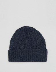 Asos Lambswool Blend Cable Fisherman Beanie In Denim Denim Blue