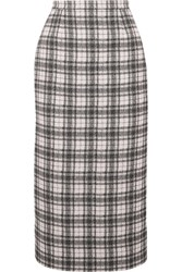Antonio Berardi Checked Tweed Pencil Skirt White