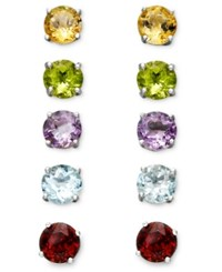 Victoria Townsend Sterling Silver Multi Stone Interchangeable Stud Earrings Set No Color