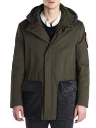 Fendi Cotton Twill Padded Fur Trimmed Parka Army