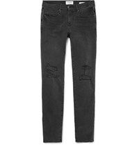Frame L'homme Slim Fit Distressed Stretch Denim Jeans Black