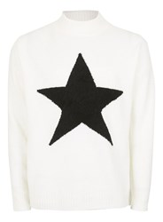 Topman Off White Embroidered Star Turtle Neck Sweater