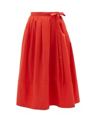 Thierry Colson Java Pleated Cotton Wrap Skirt Red