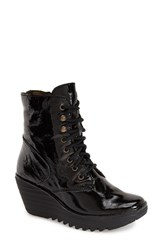 Women's Fly London 'Ygot' Platform Wedge Boot Black Patent Leather