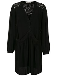 Martha Medeiros Long Sleeved Shirt Dress Black