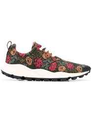 Flower Mountain Floral Embroidered Sneakers Women Cork Brown Cotton Rubber 40