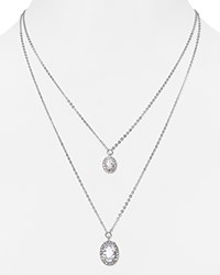 Carolee Double Layer Pendant Necklace Silver