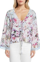 Willow And Clay Print Lace Up Top Lilac