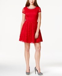 Trixxi Juniors' Cutout Embellished Lace Party Dress Red