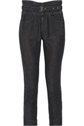 Isabel Marant Evera Belted High Rise Straight Leg Jeans Black
