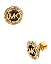 Logo Pave Stud Earrings Golden Tortoise Michael Kors Gold Tortoise