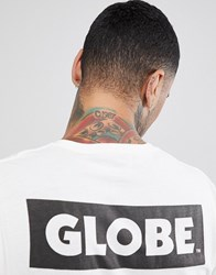Globe T Shirt With Back Sticker Logo Print In White