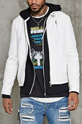 Forever 21 Faux Leather Biker Jacket White