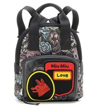 Miu Miu Beaded Jacquard And Leather Backpack Multicoloured
