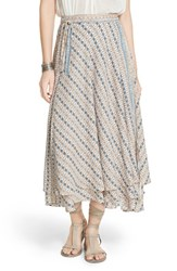 Women's Free People 'Good For You' Print Wrap Midi Skirt Ivory Combo