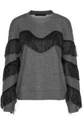 W118 By Walter Baker Alexis Fringed Cotton Blend Sweatshirt Anthracite