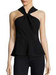 Rebecca Taylor Crepe And Lace Sleeveless Top Black