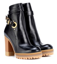 Chloe Leather Ankle Boots Black