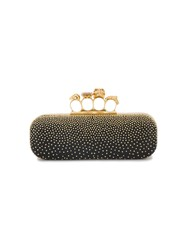 Alexander Mcqueen Studded Leather Knuckle Box Clutch Leather Metal Other Black