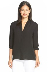 Women's Elie Tahari 'Anabella' V Neck Silk Blouse Black