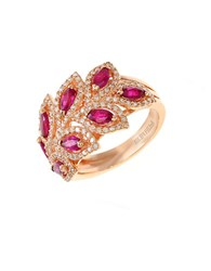 Effy Diamond And Ruby 14K Rose Gold Ring 0.56 Tcw Ruby Rose Gold