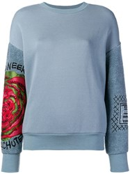 Mr And Mrs Italy Embroidered Detail Sweatshirt Blue