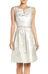 Ellen Tracy Women's Belted Metallic Jacquard Fit And Flare Dress