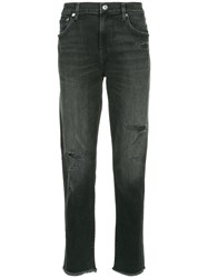 Agolde Distressed Straight Leg Jeans Black