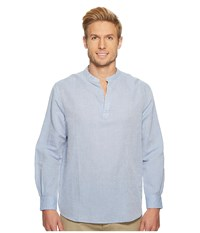 Perry Ellis Long Sleeve Solid Linen Cotton Popover Shirt Colony Blue Clothing