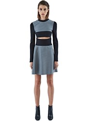 Paco Rabanne Long Sleeve Wool And Ribbed Knit Dress Black