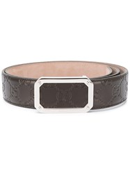Gucci Gg Embossed Buckle Belt Men Calf Leather 95 Brown