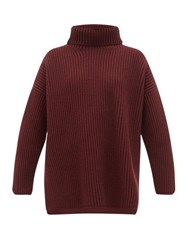 Joseph Oversized Ribbed Merino Wool Roll Neck Sweater Burgundy