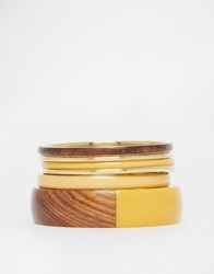 New Look Wood Multipack Bracelets Yellow